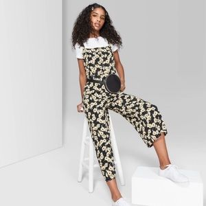 Wild Fable Black Sunflower Cropped Jumpsuit XS